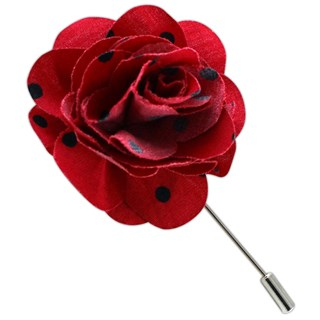 cotton dots red lapel flower pin