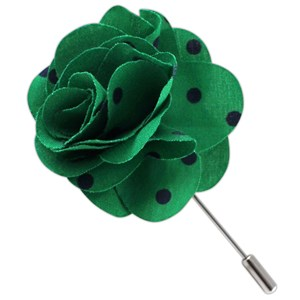 cotton dots kelly green lapel flower pin