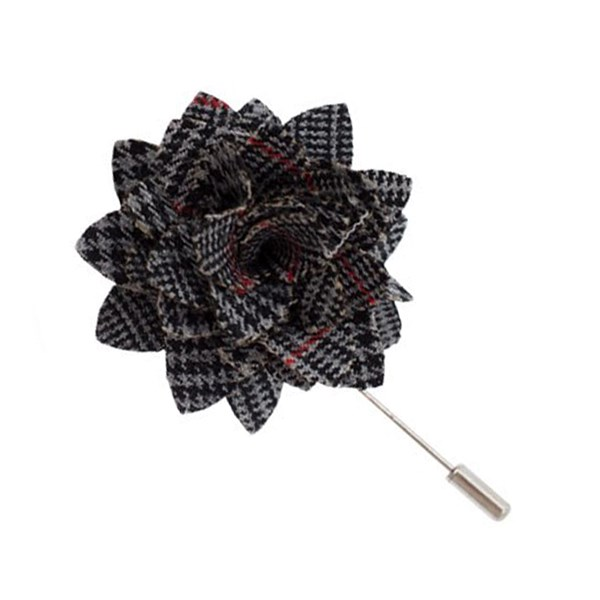 Black Gala Plaid Lapel Flower Pin