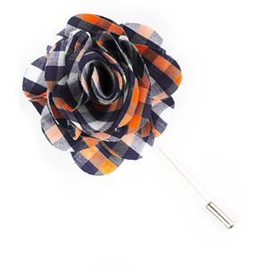sound plaid navy lapel flower pin