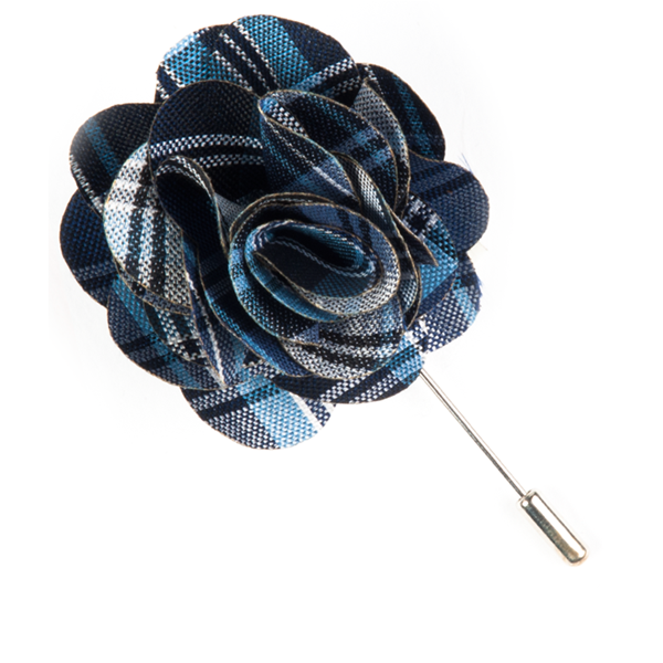 Navy Narrative Plaid Lapel Flower Pin