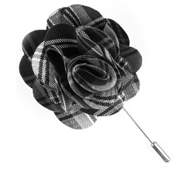Black Narrative Plaid Lapel Flower Pin