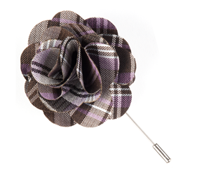 Wisteria Narrative Plaid Lapel Flower Pin