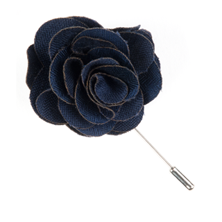 Astute Solid Navy Lapel Flower Pin