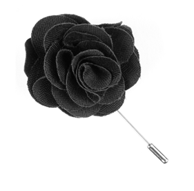 Charcoal Astute Solid Lapel Flower Pin