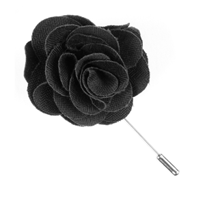 astute solid charcoal lapel flower pin