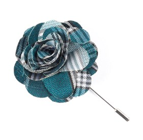 Teal Wit Plaid Lapel Flower Pin