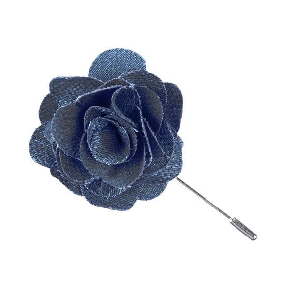 Slate Blue Festival Textured Solid Lapel Flower Pin