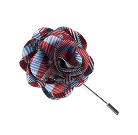 Red Polo Plaid Lapel Flower Pin