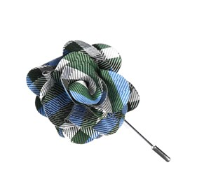 Green Polo Plaid Lapel Flower Pin
