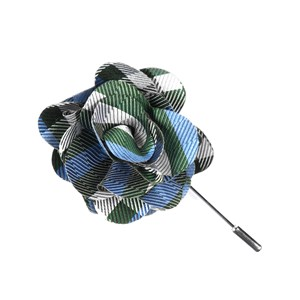 polo plaid green lapel flower pin