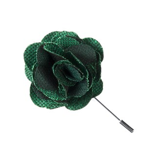Jet Set Solid Emerald Green Lapel Flower Pin