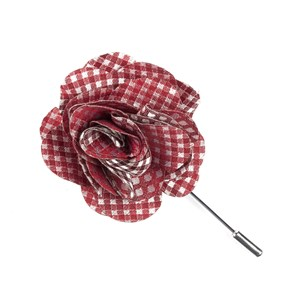 bahama checks red lapel flower pin