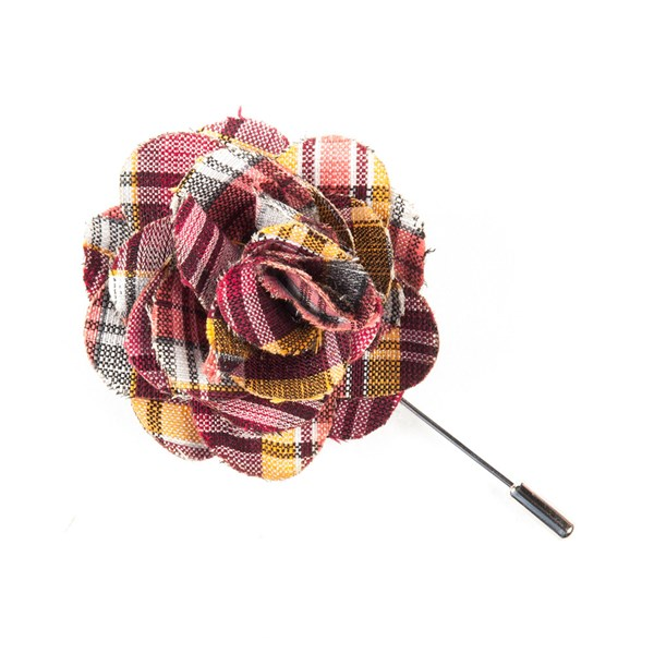Reds Rnr Plaid Lapel Flower Pin