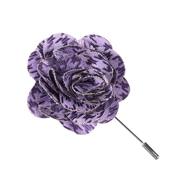 Lavender White Wash Houndstooth Lapel Flower Pin