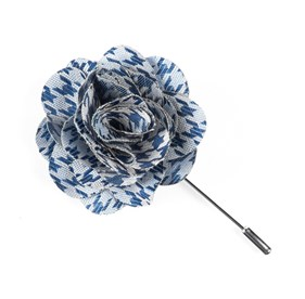 Blue White Wash Houndstooth Lapel Flower Pin