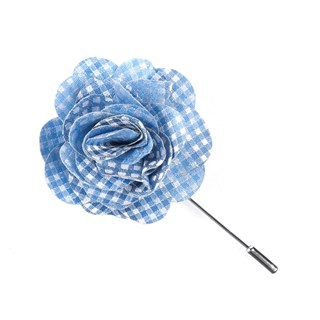 Be Married Checks Light Blue Lapel Flower Pin