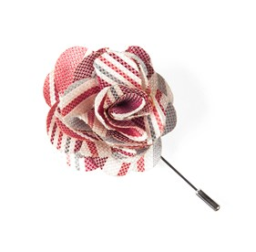 Washed Stripe Red Lapel Flower Pin