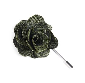 Green Front Row Herringbone Lapel Flower Pin