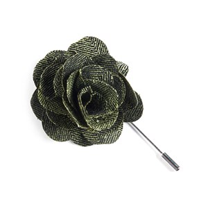 front row herringbone green lapel flower pin