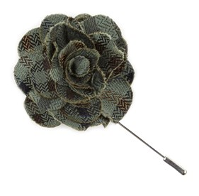 Moss Green Southeast Plaid Lapel Flower Pin