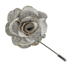 Silver Buff Solid Lapel Flower Pin