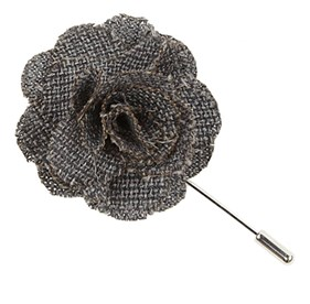Grey Business Solid Lapel Flower Pin