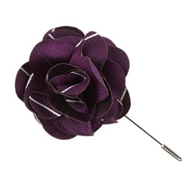 Plum Pencil Pinstripe Lapel Flower Pin
