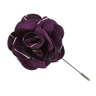pencil pinstripe plum lapel flower pin
