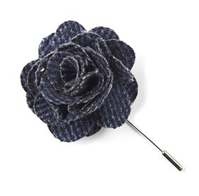 NAVY Wright Solid Lapel Flower Pin
