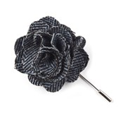 Lapel Flowers - Wool Herringbone - Blue