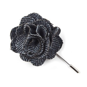 wool herringbone blue lapel flower pin
