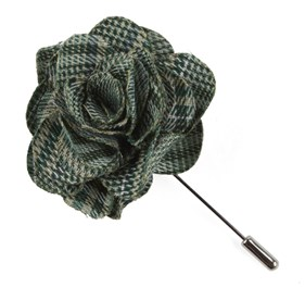 Moss Green Columbus Plaid Lapel Flower Pin