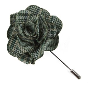 columbus plaid moss green lapel flower pin