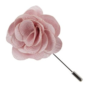 twill paisley blush pink lapel flower pin