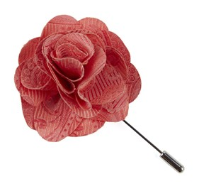 Coral Twill Paisley Lapel Flower Pin