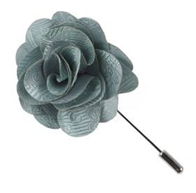 Spearmint Twill Paisley Lapel Flower Pin