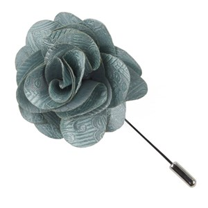 twill paisley spearmint lapel flower pin