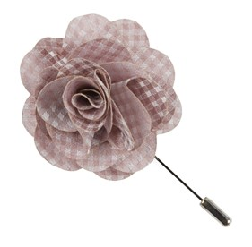 SOFT PINK Be Married Checks Lapel Flower Pin