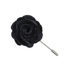 Navy Threaded Zig-zag Lapel Flower Pin