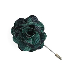 Kelly Green Hale Checks Lapel Flower Pin