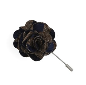 Brown Meter Stripe Lapel Flower Pin