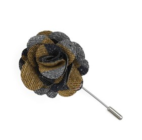 Mustard Varios Stripe Lapel Flower Pin