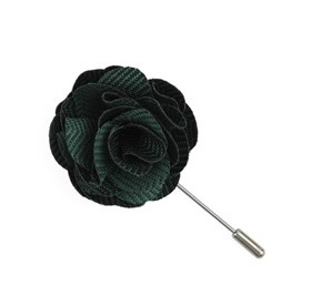 Hunter Green Verge Herringbone Lapel Flower Pin