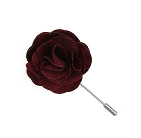 Burgundy Twill Paisley Lapel Flower Pin