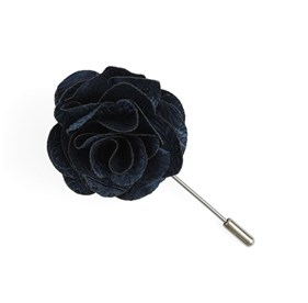 Twill Paisley Whale Blue Lapel Flower Pin