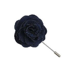 Blue Wool Suiting Solid Lapel Flower Pin