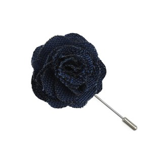 wool suiting solid blue lapel flower pin