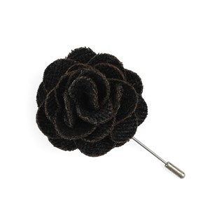 Wool Suiting Herringbone Charcoal Lapel Flower Pin