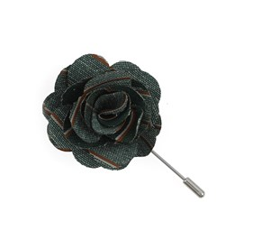 Hunter Green Pike Stripe Lapel Flower Pin